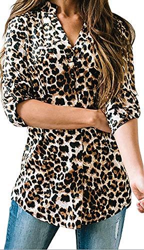 Damen Freizeit Lange Ärmel V-Ausschnitt Blumen Bluse Elegante Frauen Tunika Oberteile Vintage Hemd T-Shirt (Leopard, L/EU 42-44)
