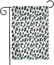 Shinanla Bandera de jardín Impresa Resumen Patrón de Puntos bicolores sobre un Fondo Blanco Composición de Arte Digital Helecho Lavable a máquina Verde Negro Blanco