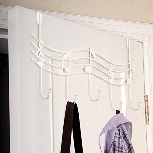 Excellent112 Türgarderobe mit Musiknoten aus Metall, Türrücken, Mantel, Kleidung und Handtuch mit 5 Haken, weiß, Weiß