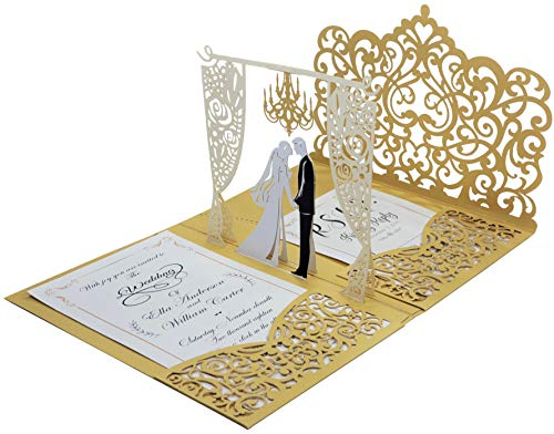 Pack of 25 Pop up 3D Wedding Invitations with Gold Laser Cut Pocket-Folds. Laser Cut Wedding Invitations. Blank Invite and RSVP Card Stocks and Envelopes Included