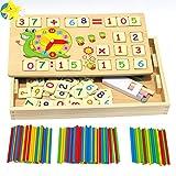 Felly Juegos Matematicos para Niños, Montessori Juguetes Educativos con Relojes de Aprendizaje, Números, Contadores, Juguetes de Madera para Todos los Niños y Niñas 3 4 5 6 Años