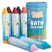 Honeystick-Crayones-para-Ninos-y-Bebes-Hechos-a-Mano-con-Cera-de-Abeja-No-Toxica-para-la-Banera-Sin-Fragancia-Juguetes-de-Bano-No-Irritantes-Color-Brillante-y-Facil-de-Mantener-Lavable-Set-de-7