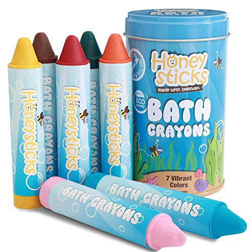 Honeysticks Bath Crayons for Toddlers & Kids - Handmade from Natural Beeswax for Non Toxic Bathtub Fun - Fragrance Free, Non-Irritating Bath Toys - Bright Colors and Easy to Hold - Washable - 7 Pack
