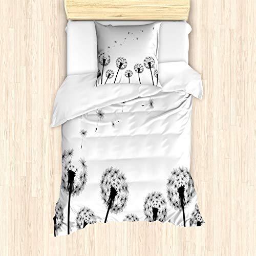 ABAKUHAUS Diente de león Funda Nórdica, Planta Blowball desvanecido, Decorativo, 2 Piezas con 1 Funda de Almohada, 135 x 200 cm, Blanco Negro