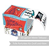 Kindertattoos Lustige Piraten 24 Tattoos |Tattoo Box ideal für Piraten Kindergeburtstag|Temporäre Tattoos für Kinder|Klebe Tattoo für Jungen