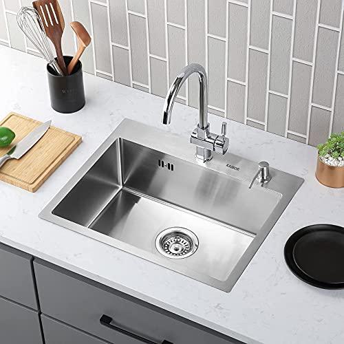 KAIBOR Lavello lavabo in acciaio 304 inox cucina 55x45x19cm con sifone per mobile base 60cm, Riduttore di rumore, lavabo da incasso quadrato lavello una vasca