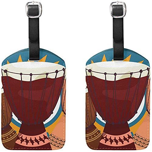 Djembe Etiquetas de Equipaje de percusión Africana Bolsa Etiquetas de Viaje para...