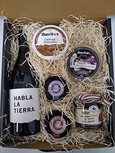 Cesta navidad con vino Habla de la Tierra, paté al Pedro Ximenez, paté de langosta de La Chinata, mermelada...