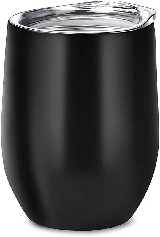Alemozala Wine Tumbler With Lid Stainless Steel Stemless Wine Glasses Travel Mug 12 Oz Double Walled Vacuum Insulated Tumbler Cup For Coffee Wine Cocktails Ice Cream Black