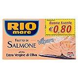 Rio Mare Filetto di Salmone con Olio Extravergine di Oliva, Cotto al Vapore, Ricco di Omega 3, 1 Lattina da 125g