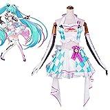 GGOODD Anime Hatsune Miku Costume Cosplay Halloween Festa di Carnevale Donne Corsa Argilla Abbigliamento Moto Set Completo,S