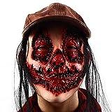 SONG Máscara de Grimace de la Peluca de Terror, máscara de Cabeza Llena de Miedo, Mascarada de Horror de Halloween, Cosplay de Fiesta del Festival, Cubierta de Cara de Cabeza Completa (sin Sombrero)