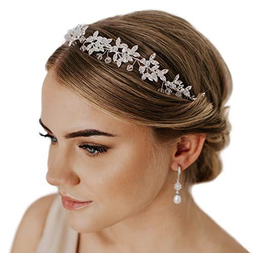 SWEETV Silber Haarschmuck Hochzeit Blume Stirnbänder Haarband Diadem Tiara Flectional
