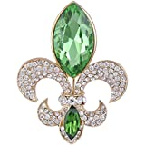 EVER FAITH Rhinestone Crystal Elegant Fleur-de-lis Flower Teardrop Brooch Apple...