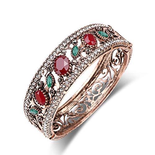 CEXTT Vintage Antiguo Color Oro brazaletes Grandes Cristales llenos de Resina Rojo Brazalete Marca joyería turca Pulseras de Mujeres
