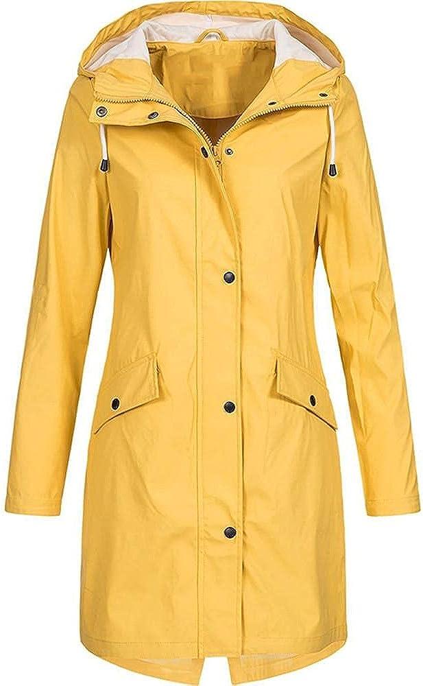 Women's Long Raincoat Plus Size Waterproof Trench Coats Hooded Windbreaker Plus Size Zip Up Utility Jacket