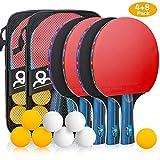 Powcan Set de Raquette de Ping Pong, Set de Raquette de Tennis de Table avec 4 Raquettes et 8 balles dans Un Sac idéales pour Débutants et Joueurs Avancés Les activités de Plein air en intérieur