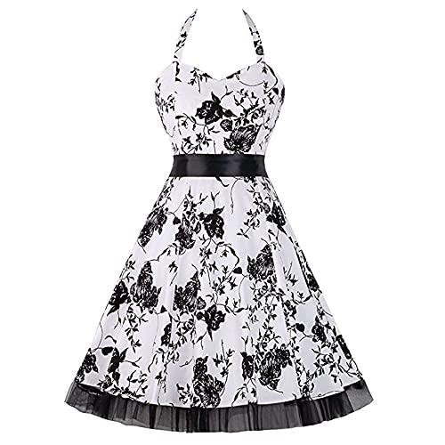 Moda Casual para Mujer Cuello Cuadrado Impreso Vendaje Cintura Retro Big Swing Costura Malla Tubo Delgado Top Sin Mangas Vestido De Cuello Halter Mujeres