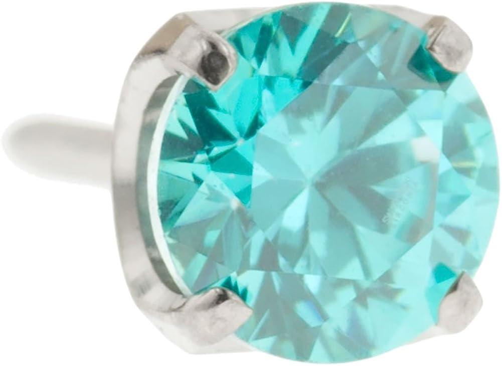 Steel Navel Body Jewelry Threadless Titanium Prong-Set Faceted Gem End: 18g High Polish, Gem: 3mm, Mint Green Gem