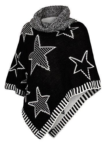 Danaest Kinder Mädchen Strick Poncho Rollkragen Pullover Cape Umhang Winter Sterne (567), Farbe:Schwarz,14 Jahre