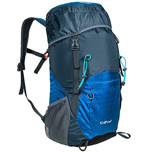 G4Free Lightweight Packable Hiking Backpack 35L Travel Camping Daypack Foldable (Dark Blue)
