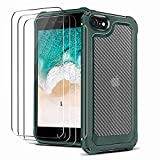 NUDGE Funda para iPhone SE 2020, Funda iPhone 8 con 3 Cristal Templado, Funda iPhone 7 Bicolor de Fibra de Carbono, Carcasa Protectora Anticaída y Antivibración para iPhone 7/8/SE 2020, Verde 4,7'