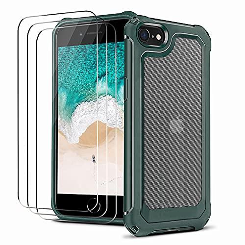 NUDGE Funda para iPhone SE 2020, Funda iPhone 8 con 3 Cristal...