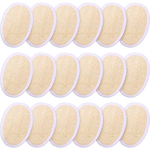 18 Packs Bath Shower Loofah Sponge Pad Exfoliating Loofah Body Scrubber Natural Bath Sponge Brush for Men and Women (Oval)