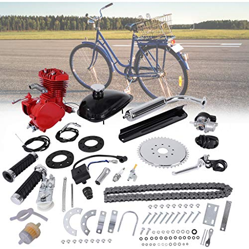80CC Bicycle Engine Kit, Motorized Bike 2-Stroke, Petrol Gas Engine Kit, Super Fuel-efficient for 24',26' and 28' Bikes (Red)