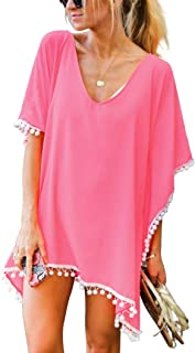 2ab68e537f25f Adreamly Women's Pom Pom Trim Kaftan Chiffon Swimwear Beach Cover Up