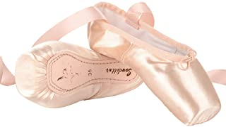 comprar comparacion Soudittur Zapatillas de Ballet de Punta Pointe Zapatos Satén con Puntera de Gel de Silicona y Cintas para Niñas Rosa (por ...