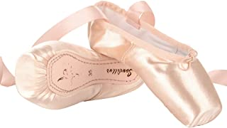 Soudittur Chaussures de Ballet de Pointe pour La Danse Classique en Rose avec Rubans de Satin et Protège-Orteils pour Ball...