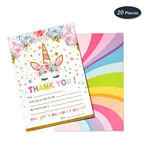 AMZTM Magical Unicorn Thank You Cards Notes for Kids Birthday Baby Shower Party Supplies Favors Fill-in Blank Design 20 Pieces