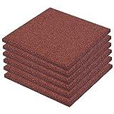 vidaXL 6x Fallschutzmatten Gummi Rot Fallschutzplatten Bodenmatten Spielplatz