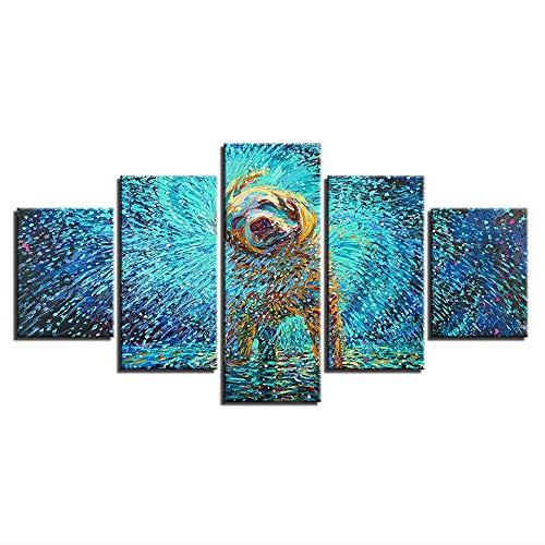 DGGDVP Lienzo HD Impresiones Cartel Arte de la Pared Imágenes abstractas 5 Piezas Impresionista Perro Batido Pinturas para la decoración del hogar Habitación de los niños Tamaño 2 Sin Marco