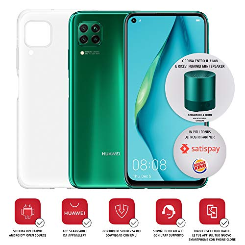 "Huawei P40 Lite con Cover, Display Punch FullView da 6.4"", Kirin 810 Octa Core, Verde, Versione Italiana"