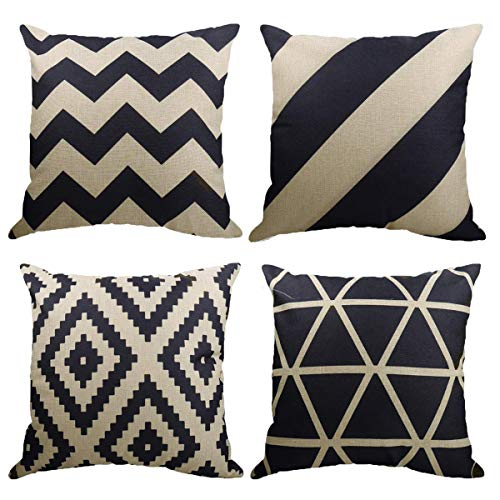 Neusky 4er Set Dekorativ Kissenbezug Kissenhülle Geometrische Muster 45 x 45cm Sofa Büro Dekor Kissenhülle aus Baumwoll und Leinen (Geometrie)