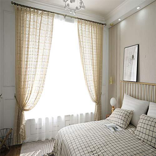 MMHJS Vintage Durchbrochene Vorhänge Lange Vorhänge In Bodennähe Gestrickte Antike Leinwand Häkeln