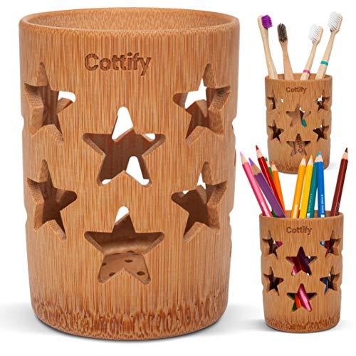 Vaso Premium Cepillo Dientes de Bambú - Organizador Cepillos de Dientes con Agujeros | Soporte Secado Rápido | Pasta de Dientes Brochas Maquillaje | Portacepillos de Dientes | Decoración de estrellas
