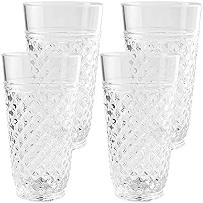 PG CCW Drinkware Collection - Premium Quality Super Clear Acrylic 20oz Plastic Water Tumblers - Set 4