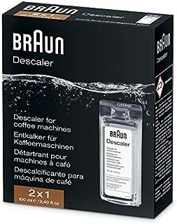 Braun Descaler, Universal Coffee & Espresso Machine Descaling Solution, 2-Pack (1 use per pack)