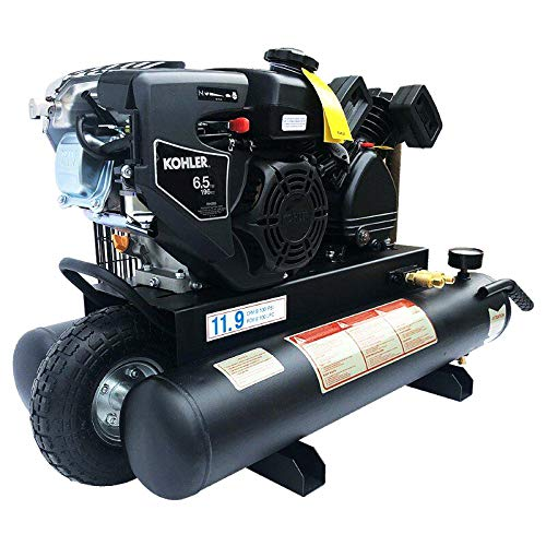 HPDAVV Upgreaded Gas Driven Piston Air Compressor 6.5HP - One Stage - 9.5Gal Tank - 12cfm @ Max 125psi - fit for KOHLER Engine Wheelbarrow Twin Pontoon Protable Heavy duty V-0.3/8P1 H235 RH65