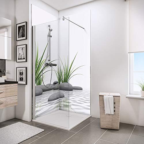 Schulte 4060991008122 Lot de 2 Panneaux muraux DecoDesign Photo, revêtement décoratif Douche, Motif Pierres Zen et Herbes, 90x210 cm