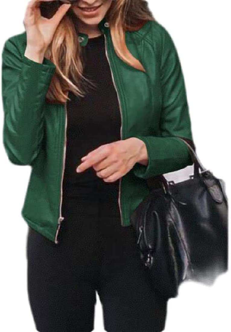 Womens Long Sleeve Short Coat Slim Fit Faux Leather Zip Front Jackets
