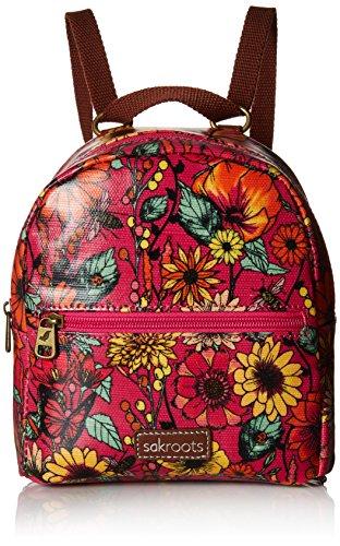 Sakroots Damen Crossbody Backpack Mini-Umhängetasche/Rucksack-Kombi, Raspberry in Bloom, Einheitsgröße