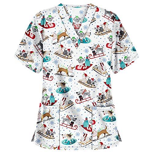 HSada 2-Pocket V-Neck Top for Women, Cute Scrub_Top Short Sleeve V-Neck Workwear Thanksgiving Christmas Holiday Tops Blouse White