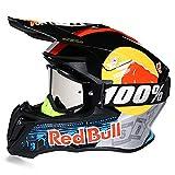 Motocicleta Motocross Cascos De Motocicleta ECE Dot Casco Todoterreno para Adultos Casco De Motocross Dirt Bike ATV Casco De Motocicleta Guantes Gafas Red Bull Casco Integral