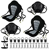 Pack of 2 Thickened Padded Kayak Seat with Backrest Support,Extra Thick Padded Sit-On-Top Canoe Seat Cushioned-Deluxe Fishing Boat Seat with 2 T-Handle,10 Fixed D-Ring and Detachable Storage Bag