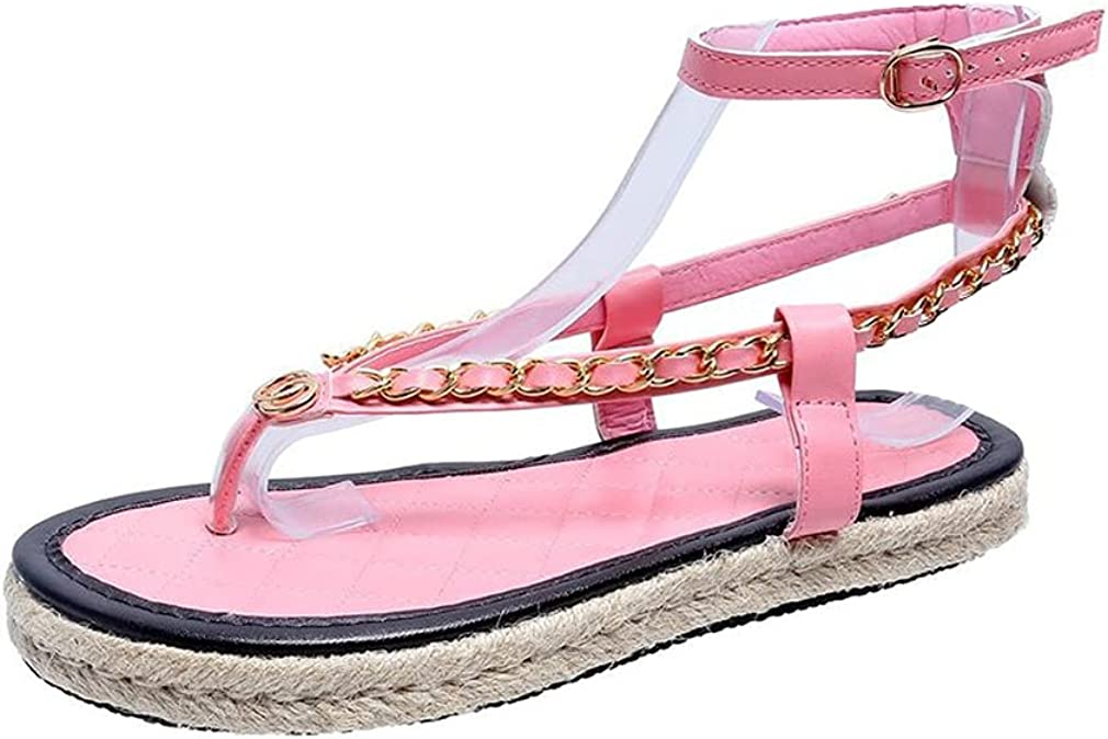 heelchic Women Chain Link Roman Gladiator Flip Flop Sandals Adjustable Ankle Strap Flat Sandals