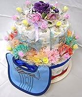 ご出産お祝い <おむつケーキ>リーズナブルなお値段のかわいいおむつケーキ「2段おむつケーキ」(男の子用ブルー系)パンパースS